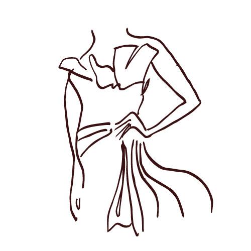Volant e balze complessi per l'Haute Couture